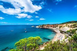 Picturesque Cala d'Hort beach. Cala D'Hort, one of Ibiza's most magical and laidback beaches. Balearic Islands. Spain