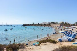 Alicante, Spain; Agost 26, 2020t; View of the beach in Tabarca Island. People are enjoying beautiful blue mediterranean sea in a sunny day